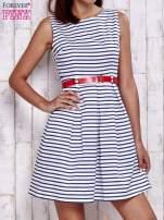 Biała sukienka w marynarskim stylu z paskiem                                  zdj.                                  1