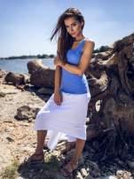 Biała zwiewna spódnica z dłuższym tyłem