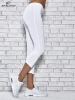 Białe legginsy sportowe z dżetami na dole nogawki                                  zdj.                                  2
