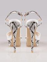 Białe wężowe sandały na szpilce zapinane na kostce Amber                                  zdj.                                  3