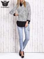 Biało-czarna dwuczęściowa koszula z motywem panterki                                  zdj.                                  8