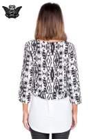 Biało-czarna dwuwarstwowa koszula we wzór ornamentowy