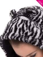 Biało-czarna kamizelka w tygrysie cętki z kapturem z uszkami                                   zdj.                                  11