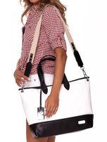 Biało-czarna torba shopper z eko skóry z odpinanym paskiem                                  zdj.                                  4