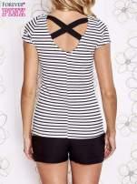 Biało-czarny t-shirt w paski crossed back                                  zdj.                                  4