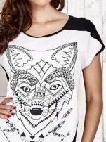 Biało-czarny t-shirt z wilkiem w azteckim stylu                                  zdj.                                  5