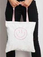 Biało-różowa torba materiałowa                                  zdj.                                  1