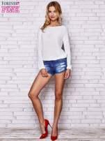 Biały błyszczący sweter z haftem sowy z tyłu                                  zdj.                                  2