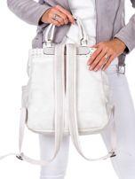 Biały plecak damski z eko skóry z plecionką i ażurowaniem                                  zdj.                                  5