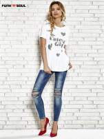 Biały t-shirt w serduszka z napisem THE CUTEST GIRL Funk 'n' Soul