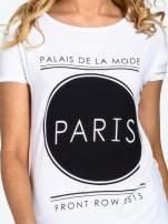 Biały t-shirt z nadrukiem PARIS