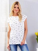 Biały t-shirt z nadrukiem ptaków                                  zdj.                                  1