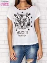 Biały t-shirt z nadrukiem tygrysa i zipem z tyłu                                  zdj.                                  1