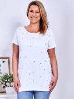 Biały t-shirt z perełkami PLUS SIZE                                  zdj.                                  1