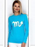 Bluza damska z motywem znaku zodiaku SKORPION turkusowa                                  zdj.                                  1