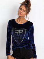 Bluza damska aksamitna z aplikacją z perełek i dżetów granatowa                                  zdj.                                  5