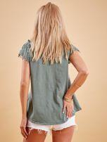 Bluzka khaki z koronkowymi rękawami                                  zdj.                                  2