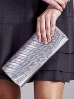 Błyszcząca elegancka kopertówka z dżetami srebrna                                  zdj.                                  1