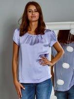 Błyszczący satynowy t-shirt fioletowy                                  zdj.                                  1