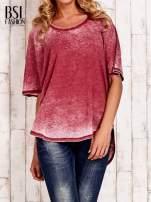 Bordowa bluzka z dłuższym tyłem efekt acid wash