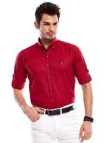 Bordowa koszula męska regular fit z podwijanymi rękawami                                   zdj.                                  2