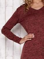 Bordowa melanżowa bluzka z przedłużanym tyłem                                  zdj.                                  6