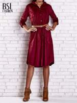 Bordowa zamszowa sukienka z rozcięciami po bokach                                  zdj.                                  1