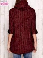 Bordowy melanżowy sweter z szerokim golfem i kieszeniami                                   zdj.                                  4