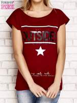 Bordowy t-shirt z napisem LET ME LIVE LIKE AN OUTSIDER                                                                          zdj.                                                                         1