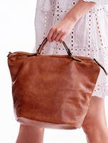 Brązowa ażurowa torba z plecioną kieszonką                                  zdj.                                  5