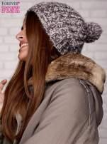 Brązowa czapka z melanżową nicią                                  zdj.                                  2