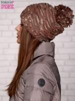 Brązowa melanżowa czapka z pomponem                                                                          zdj.                                                                         3