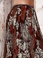 Brązowa plisowana spódnica midi z brokatem                                  zdj.                                  6