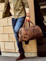 Brązowa skórzana męska torba podróżna                                  zdj.                                  5