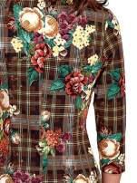 Brązowa sukienka w kratę z kwiecistym nadrukiem                                   zdj.                                  5