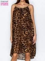 Brązowa sukienka w panterkę na złotych ramiączkach                                  zdj.                                  1