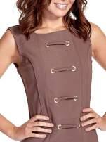Brązowa sukienka ze sznurowaniem                                                                          zdj.                                                                         6