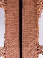 Brązowa torba koszyk plażowy z frędzlem                                  zdj.                                  5