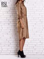 Bordowa zamszowa sukienka z rozcięciami po bokach                                                                          zdj.                                                                         3