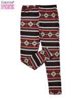 Brązowe legginsy dziewczęce z zimowym wzorkiem                                  zdj.                                  2