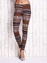 Brązowe legginsy w zimowy motyw                                  zdj.                                  1