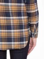Brązowo-granatowa damska koszula w kratę z kieszonkami                                  zdj.                                  10