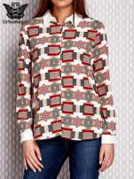 Brązowo-łososiowa wzorzysta koszula z podwijanymi rękawami                                  zdj.                                  1
