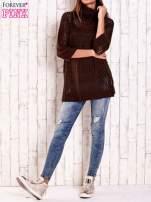 Czarny ażurowy sweter z golfem FUNK N SOUL                                                                          zdj.                                                                         2
