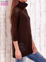 Czarny ażurowy sweter z golfem FUNK N SOUL                                                                          zdj.                                                                         4