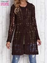 Brązowy długi sweter na guziki                                  zdj.                                  1