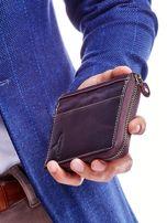 Brązowy skórzany portfel dla mężczyzny na suwak                                  zdj.                                  6