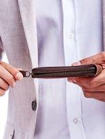 Brązowy skórzany portfel dla mężczyzny z zapięciem na suwak                                  zdj.                                  6