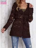 Beżowy sweter z wiązaniem w pasie                                                                          zdj.                                                                         1