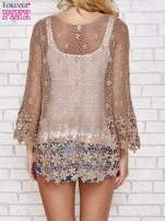 Brązowy szydełkowy sweterek z rozszerzanymi rękawami                                  zdj.                                  4